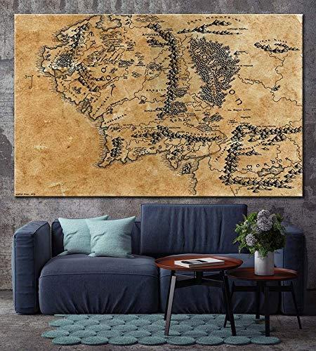 Moda Pintura Lienzo Mapa Del Mapa De La Tierra Media Película El Señor De Los Anillos Lotr Mapa Del Cartel Mapa De La Lona Impresión Para El Hogar Decoración Para El Hogar Pinturas 60 * 90cm