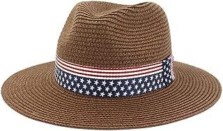 Summer Paper Straw Wide Brim Sun Hats Men Women British Style Jazz Fedora Beach Hat Cowboy Sunhat with US Flag Ribbon` TuanTuan (Color : Coffee, Size : 56-58CM)