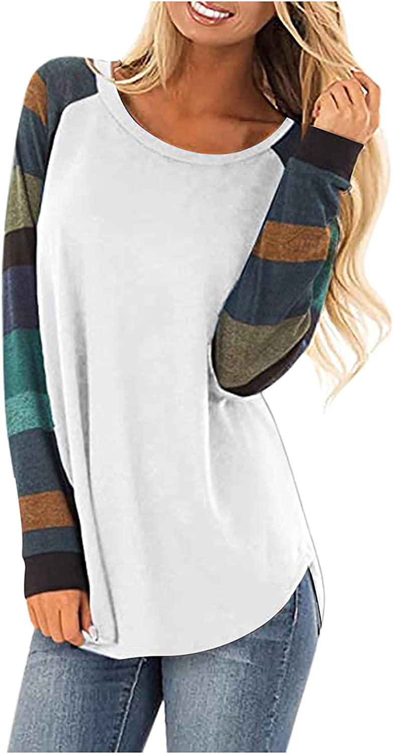 POTO Long Sleeve Shirts for Women, Womens Striped T Shirts Round