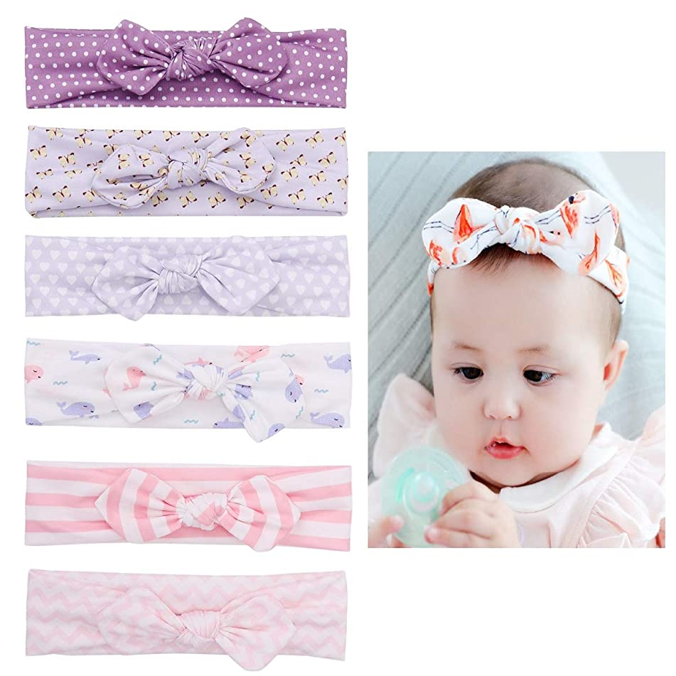 Loveliome Bow-knot Baby Girls Headbands, Stretch Soft Cotton Hairbands for Newborn Toddler(Mix-color 4,6 Pack)