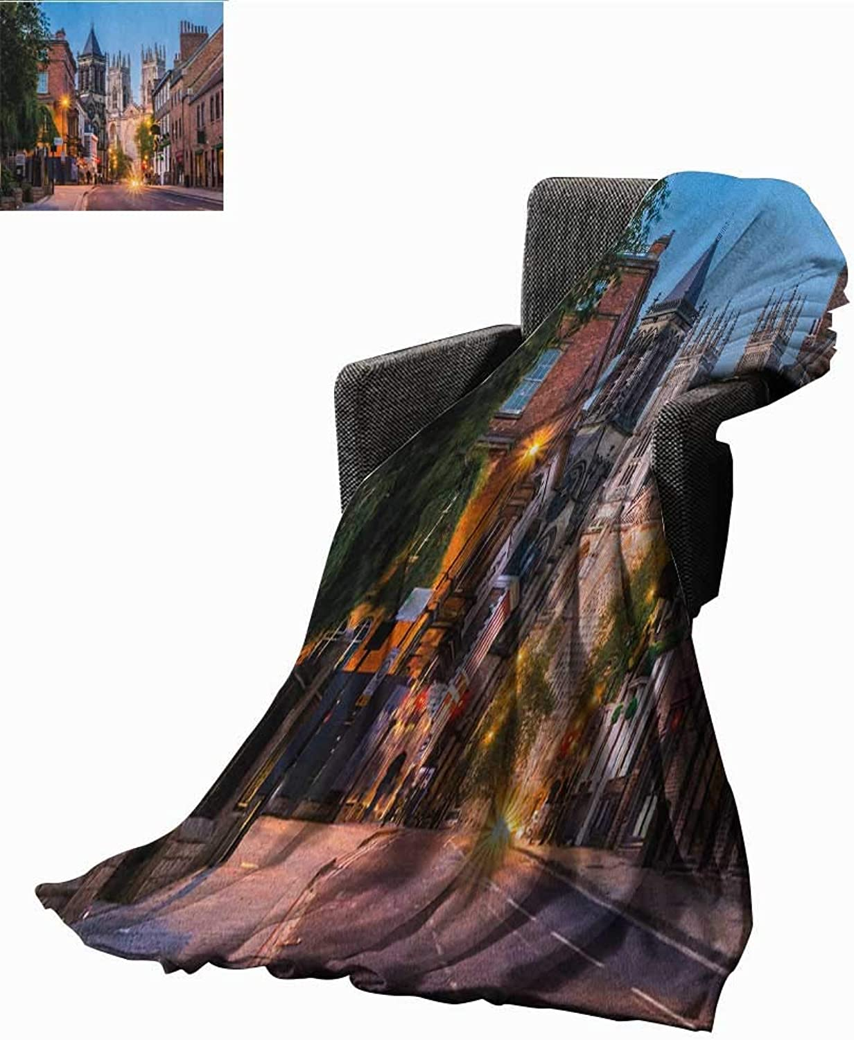 Sunsunshine Bed or Couch 60  x 35 Gothic Lightweight Blanket York Minster View in Evening Cityscape Historical Landmark Street in The England Print Summer Quilt Comforter Multicolor