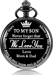 Pocket Watch Gift for Son - to My Son | Pocket Watch Gifts for Son from Mom & Dad for Christmas, Valentines Day, Birthday