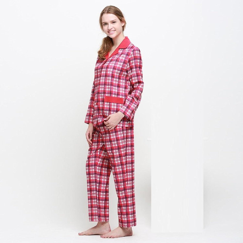 DMMSS Ladies Lapel Cotton Pajamas LongSleeved Home Pajamas Suit