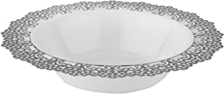 Elegant Disposable Plastic Dinnerware - White Soup/Salad Bowl with Silver Lace Trim - Hard & Reusable, Real China Look Party Plates - 7.5