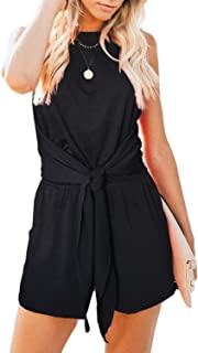 Women's Summer Sleeveless Halter Neck Solid Color Knot Front Short Jumpsuit Romper with Pockets
