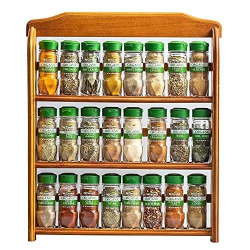 McCormick Gourmet Three Tier Wood 24 Piece Organic Spice Rack, 27.6 oz