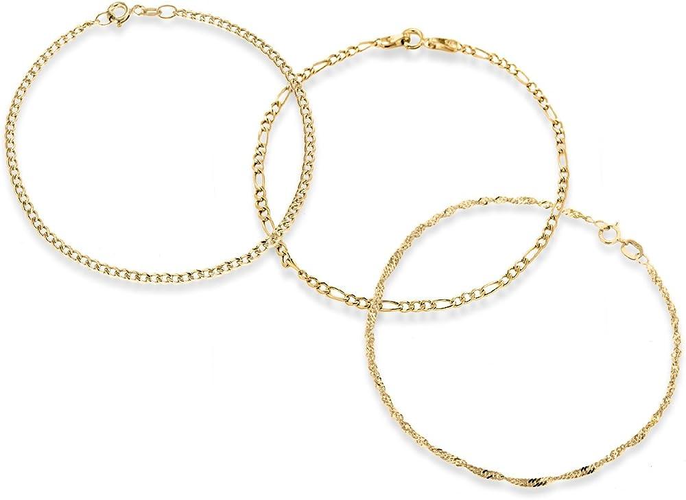 Carissima gold set 3 bracciali per donna, in oro giallo, 9k/375(2,4gr) 1.40.3611