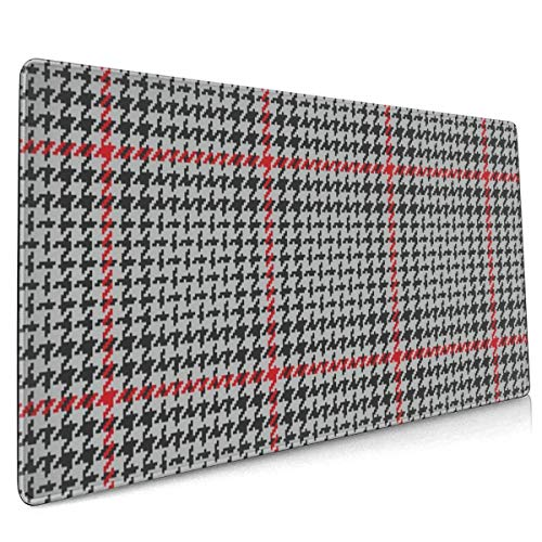 Extend Mouse Pad Plaid Pattern Glen Check Grey 40 X 90 cm Gaming Mouse Pad Rubber Base