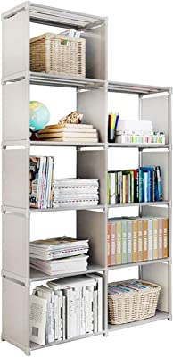 9 Storage Cubes, 4 Tire Shelving Bookcase Cabinet, DIY Closet Organizers for Living Room Bedroom Office (Gray)