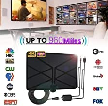 【HONGCH】 Updated 2019 Version Professional Carbon Fibre 65-120 Miles TV Antenna, Indoor TV Digital HD Antenna 4K HD Freeview Life Local Channels All Type Television Switch Amplifier Signal Booster