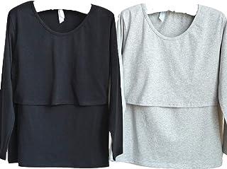 授乳服 授乳 Tシャツ インナー 長袖 産前 産後 用 年中使える マタニティ ウェア 2枚組 (ブラック✕グレー) medy(メディー) これ一枚で春夏秋冬、授乳後も。ベーシックな無地デザインの 授乳Tシャツ 授乳口付き インナー (長袖 フリー 新色)