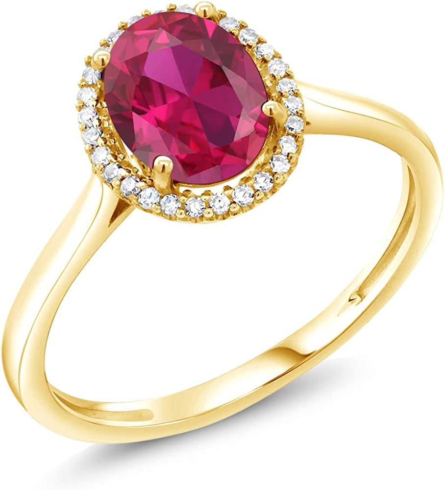 Gem Stone King Indefinitely 10K Yellow Gold Red Ruby and Wome Ranking TOP10 Created Diamond