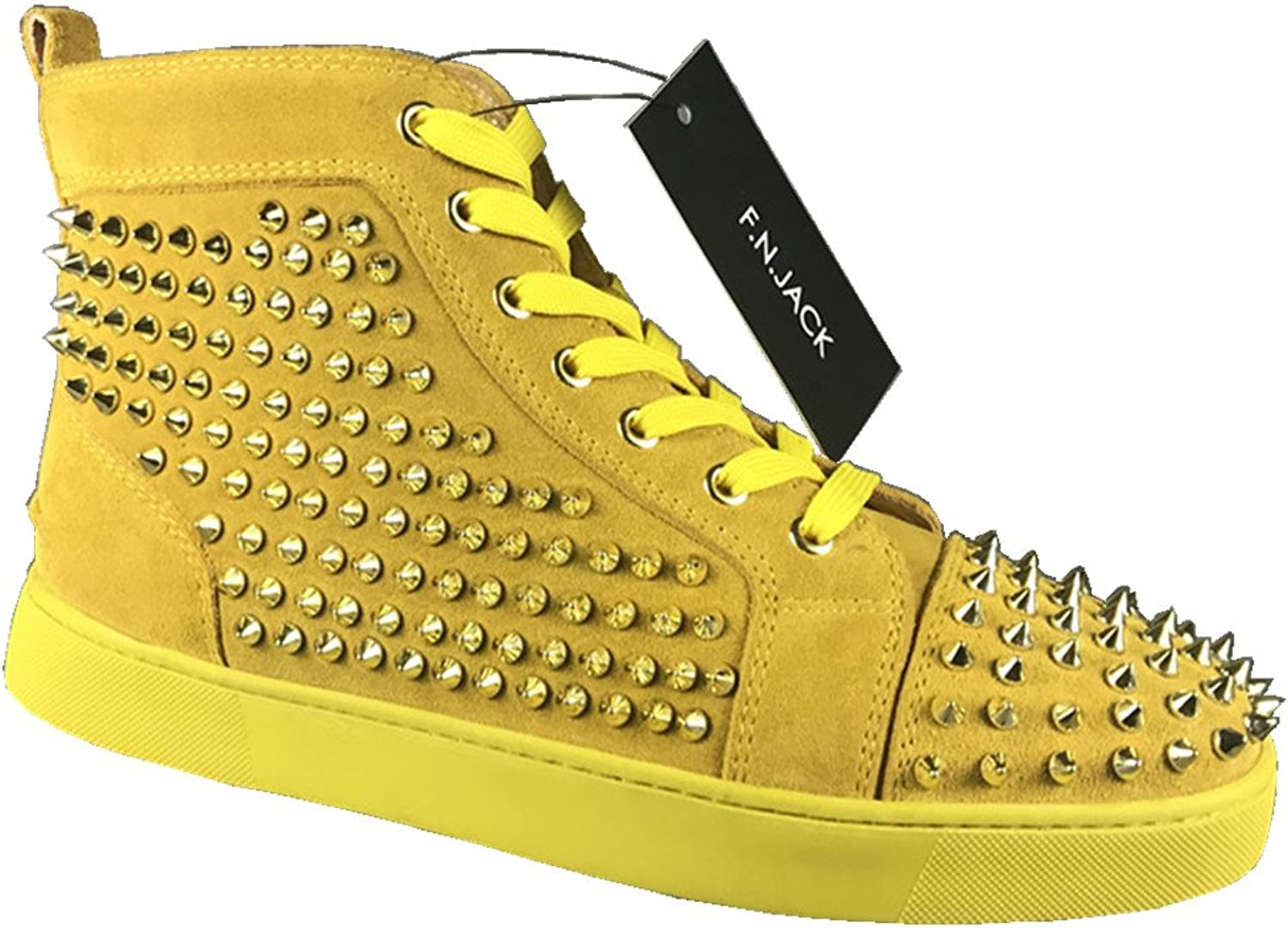 F.N.JACK Men's Sneakers Flat High Top Suede Toe Spikes Studs YX88543 Yellow