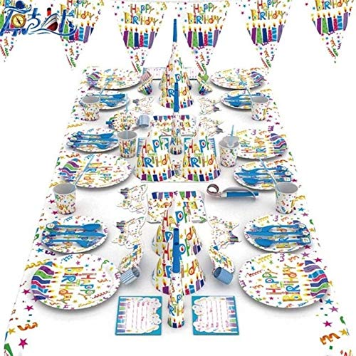 Buy Xucus Happy Birthday Lovely Printed Party Tableware Plates Napkins Happy Birthday Adults Kids Fa...