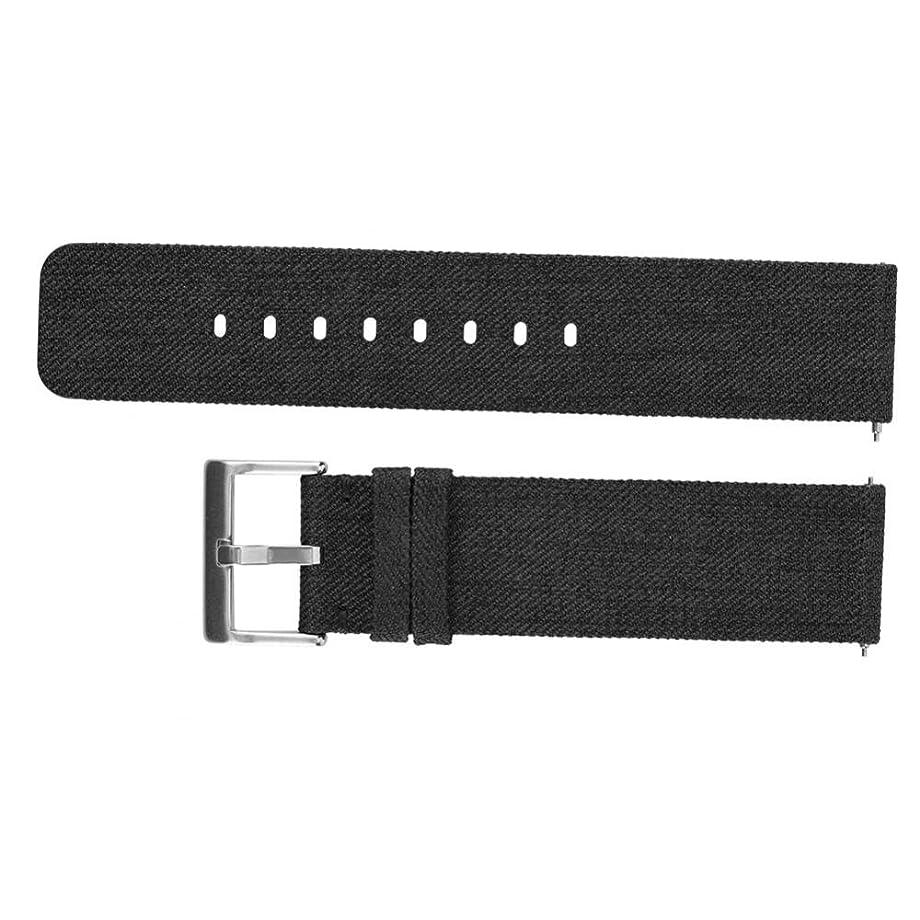 耐えられる達成する無しVBESTLIFE キャンバス織り交換腕時計バンドリスト 通気性 クラシックバックル式 手首ストラップ スマート交換バンド Fitbit Versa(ブラック)