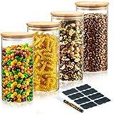 Deco Haus Set 4 1400ml Tarros de Cristal Reutilizables Tapa Bambú -...