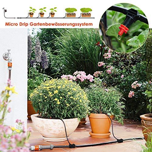 FIXKIT Gartenbewässerungssystem Bewässerung Kit Automatische Gewächshaus Sprinkler Tröpfchenbewässerung für Garten Blumenbeet Terrasse Pflanzen Micro Drip System DIY Bewässerungsschlauch (30M)