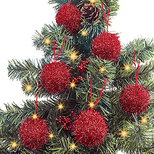 LimBridge Christmas Tree Ornaments, 6 Pcs Knitted Sparkle Glitter Bling Christmas Ball Decorations, for Xmas Decor Holiday Decor, Shimmer Red…