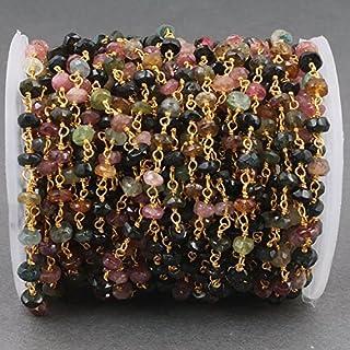 Cadena de cuentas de turmalina de 4 mm estilo rosario con cuentas de turmalina múltiple, cadena de plata de ley 925