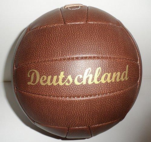 Bavaria Home Style Collection Fútbol/Fútbol/Nostalgie Pelota/Retro en Aspecto de Piel/marrón/Talla 5/Nostalgie, con Remaches Negros y Hoja Print Texto Alemania