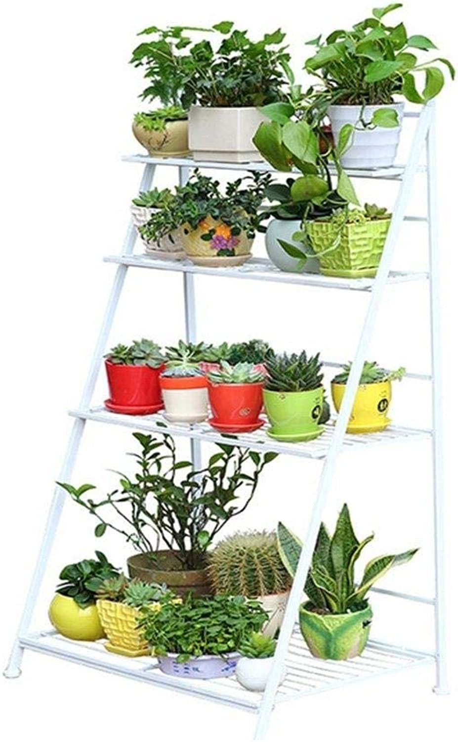 Flower Stand-Metal White Multi-Layer Garden Display Stand, Plant Stand Pot Rack Flower Pot Storage Rack Shelf (Size  50cm, 38cm, 96cm ,50cm  48cm  122cm) (Size   50cm48cm122cm)