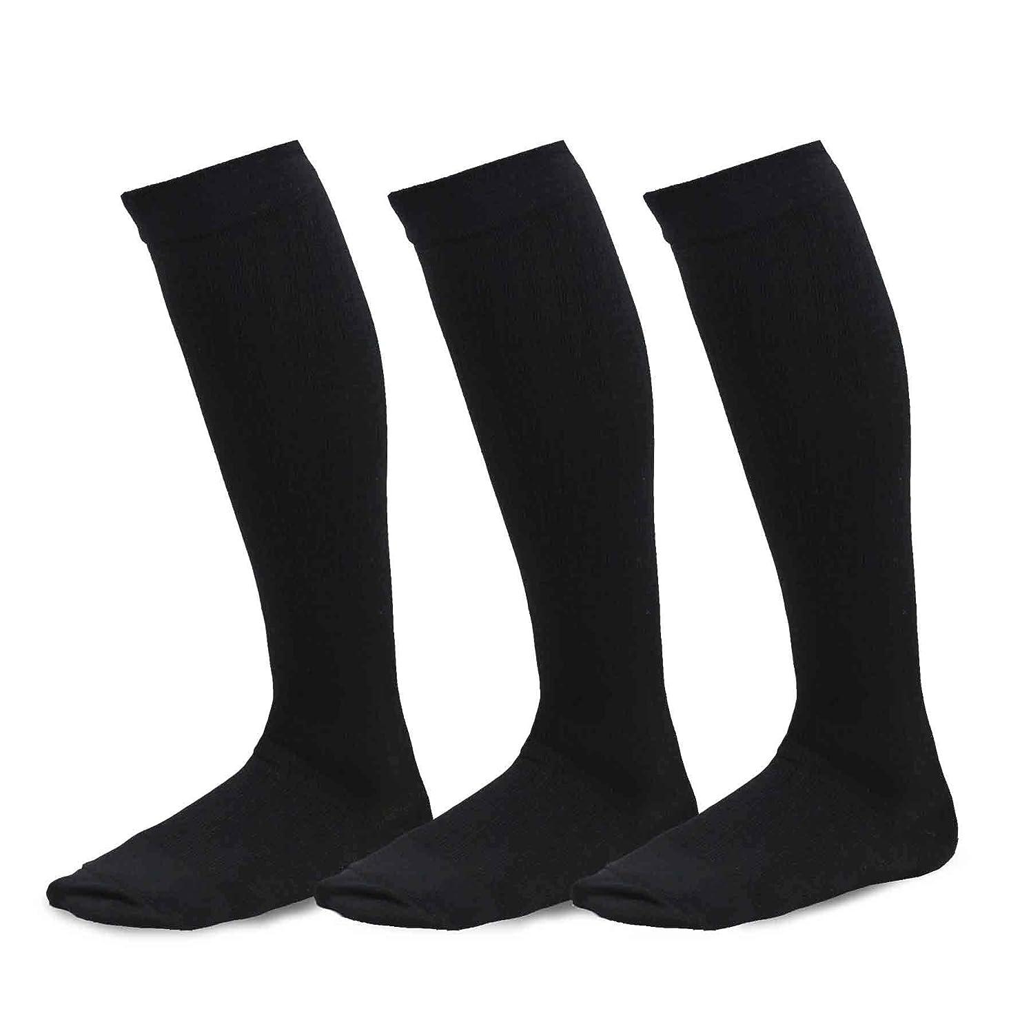 どこかゲートウェイメモTeeheeビスコースから竹Compression Knee High Socks with Rib 3?- Pack