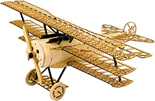 Dancing Wings Hobby X11 3D Jigsaw Woodcraft Model Plane, Balsa Wood Fokker DRI Aircraft Model Building Kits, Educational DIY Wooden Construction Toys for Adults