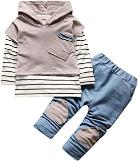 DaySeventh Baby Boys' Cute Hooded Set Stripe T-Shirt Top+Pants Clothes Set