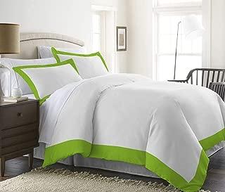 H&H Decor Premium Quality Ultra-Soft Luxurious 3 Pc Two Tone Duvet Cover (1 Duvet Cover & 2 Pillow Shams) 100% Egyptian Cotton Solid 650 TC Size US Expanded Queen Color SAGE