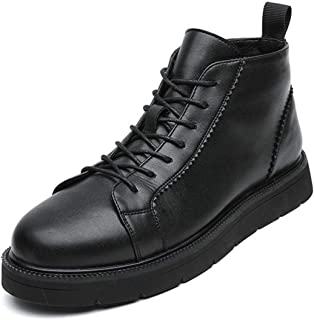 Yi-xir classic design Men's Genuine Leather Boots Lace up Round Toe Pull Tap Velvet High Top Oxford Quick Shoes Slip Resis...