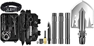 Ultimate Tactical Survival Package with Multifunction Military Folding Shovel and Emergency Survival Multitool Kit for Car...