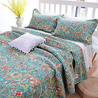 Kolachic 3 PCS American Country Cottage Green Floral Bedspread Quilt Coverlet Patchwork 100% Cotton Queen Size