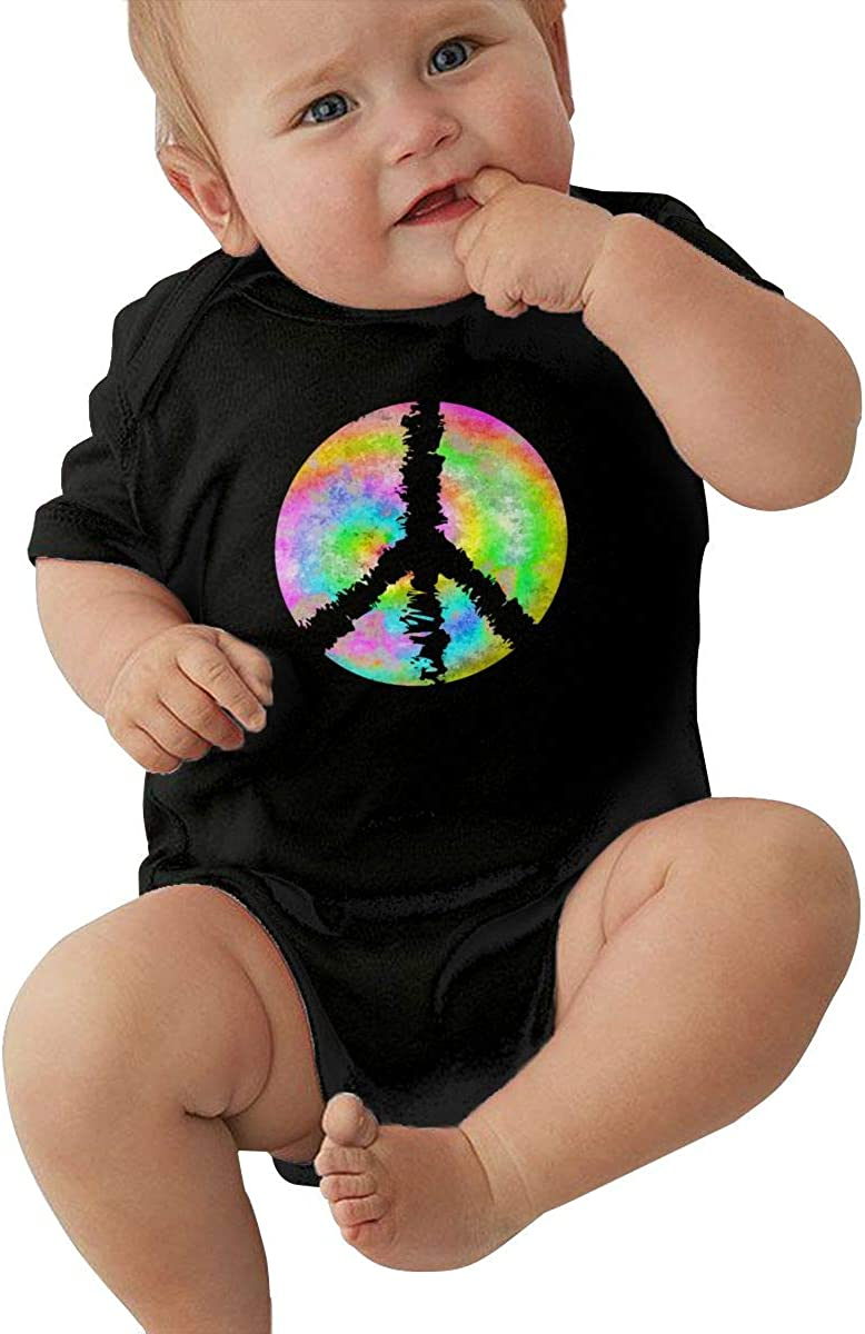 Tie Dye Peace Sign Cotton Baby Bodysuit Romper Short Sleeved 0-24 Months