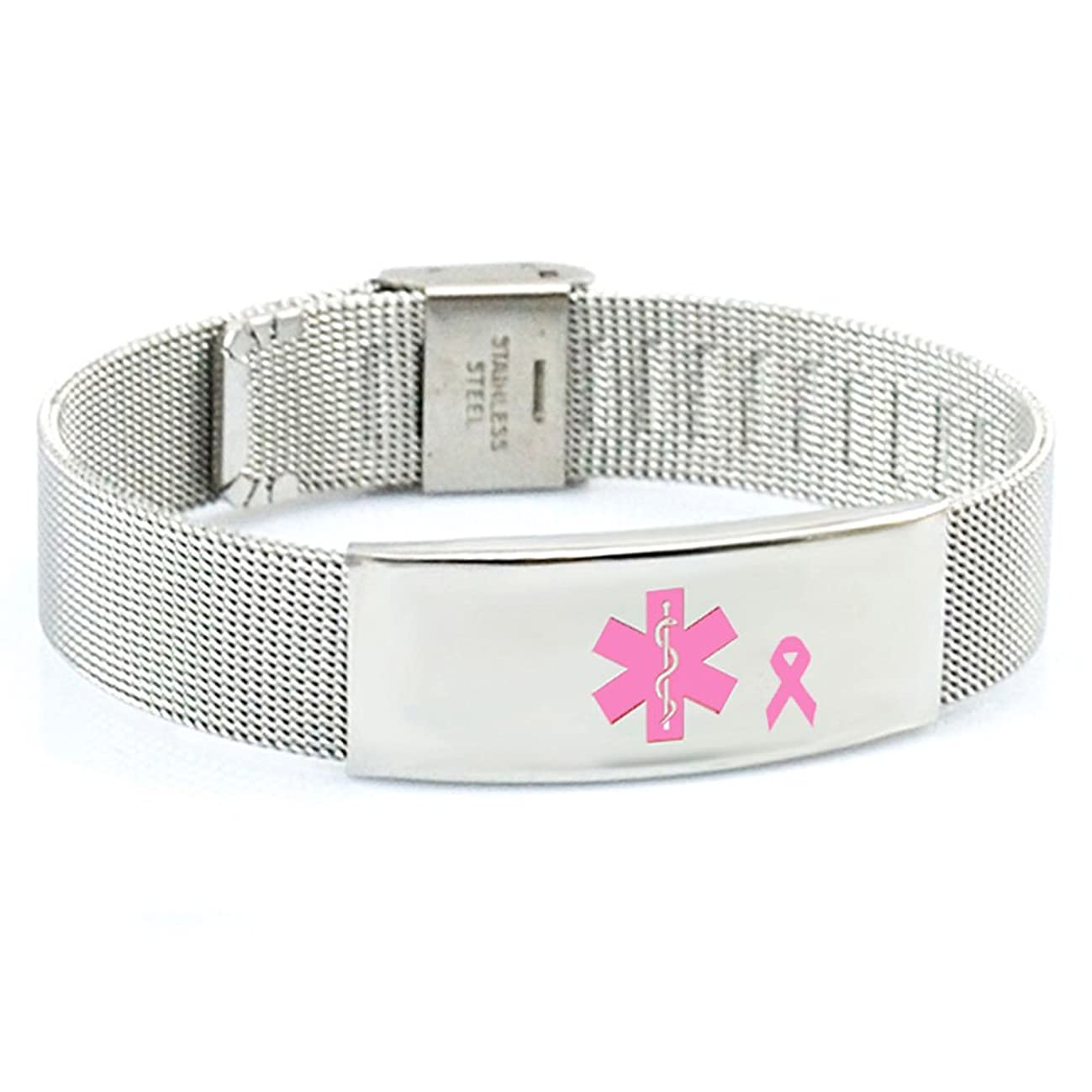 Products for Better Living Breast Cancer No Needle or BP on Left Arm Medical ID Alert Bracelet Adjustable Stainless Steel Mesh