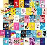 Artivo Glänzendes Retro-Wand-Collage-Set, ästhetische Bilder, 50 Stück, 10 x 15 cm, buntes Indie Wanddekoration für Teenager-Mädchen, VSCO College Schlafsaal Raumdekoration Fotosammlung