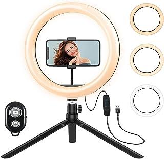 Criacr 10'' LED Ring Light with Tripod Stand, 3 Lighting Modes, 10 Brightness Level, 120 Leds Bulbs, Camera Selfie Light R...