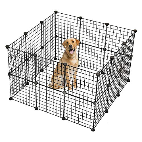 Lucakuins Black Portable Pet Playpen for Dog/Cat/Rabbit/Puppy, Collapsible Metal Pet Fence with 32 Panels