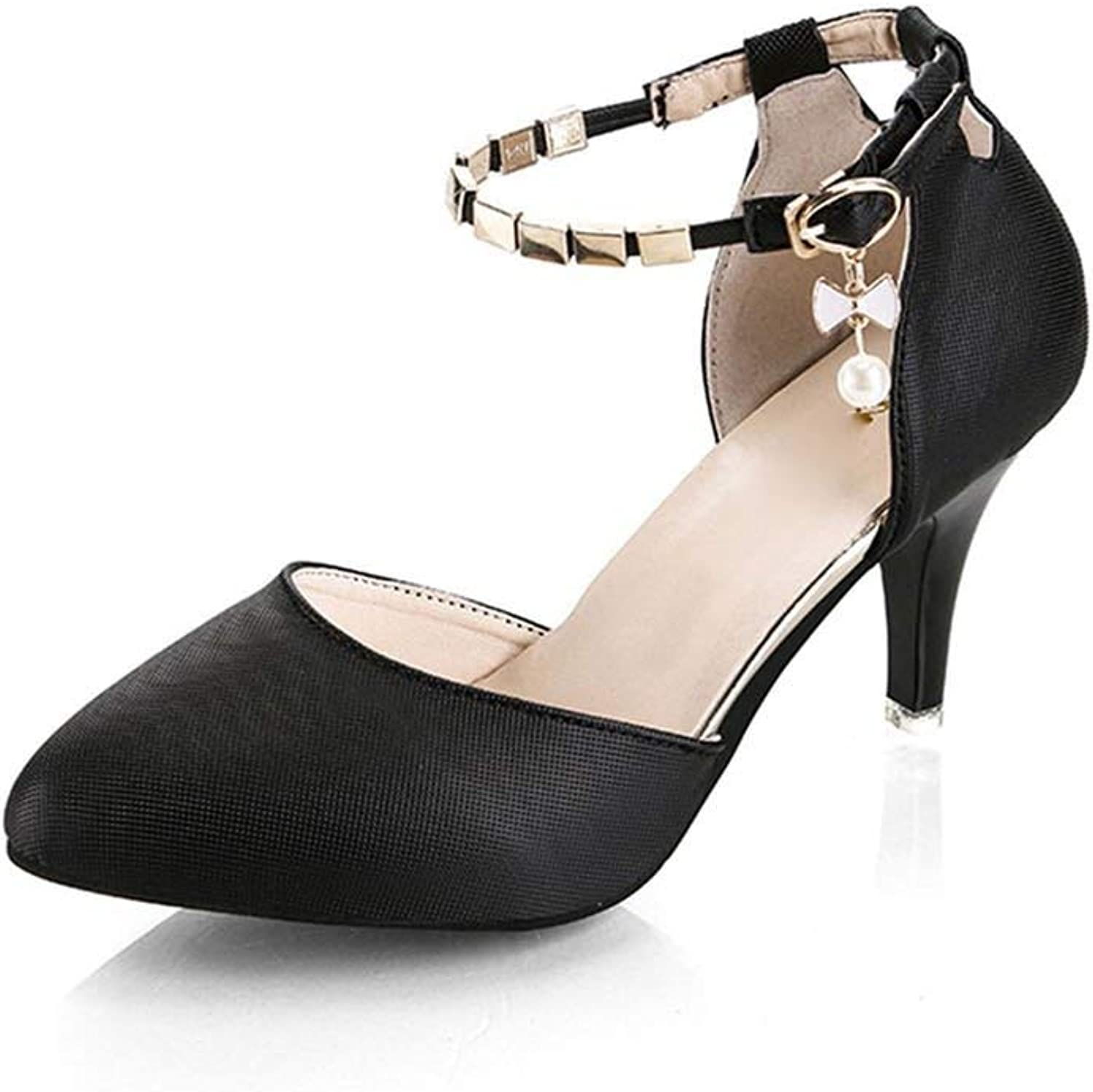 YP-fashion Plus Size 35-43 Women Ankle Strap Pumps High Heels Dress shoes Pearly-Lustre shoes