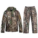 NEW VIEW Camouflage Jacke Outdoor Wasserdicht Windproof Fleece Kapuzen Jagd Fischen Jagdbekleidung und Hosen (L, Camouflage)