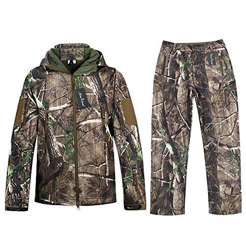 NEW VIEW Camouflage Jacke Outdoor Wasserdicht Windproof Fleece Kapuzen Jagd Fischen Jagdbekleidung und Hosen (XXL, Camouflage)