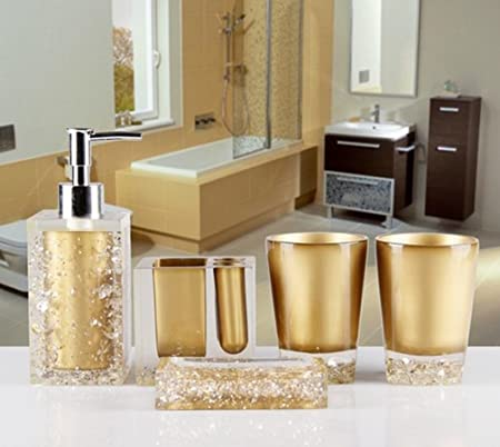 Amazon Com Amss 5 Piece Stunning Bathroom Accessories Set In Crystal Like Acrylic Tumbler Dispenser Soap Dish Cups Gold Home Kitchen
