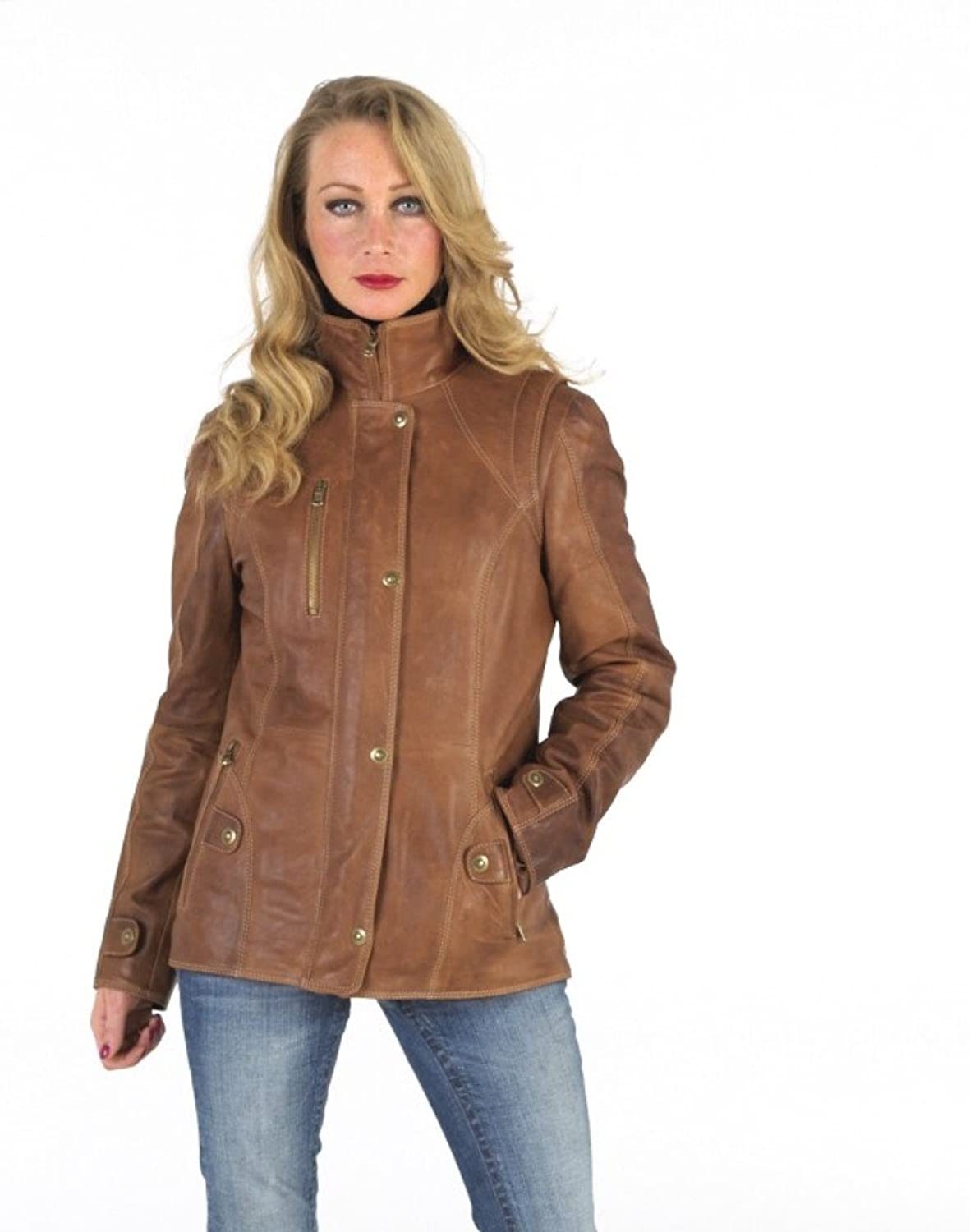 World of Leather Lambskin Genuine Leather Jacket Short Blazer Casual Tan