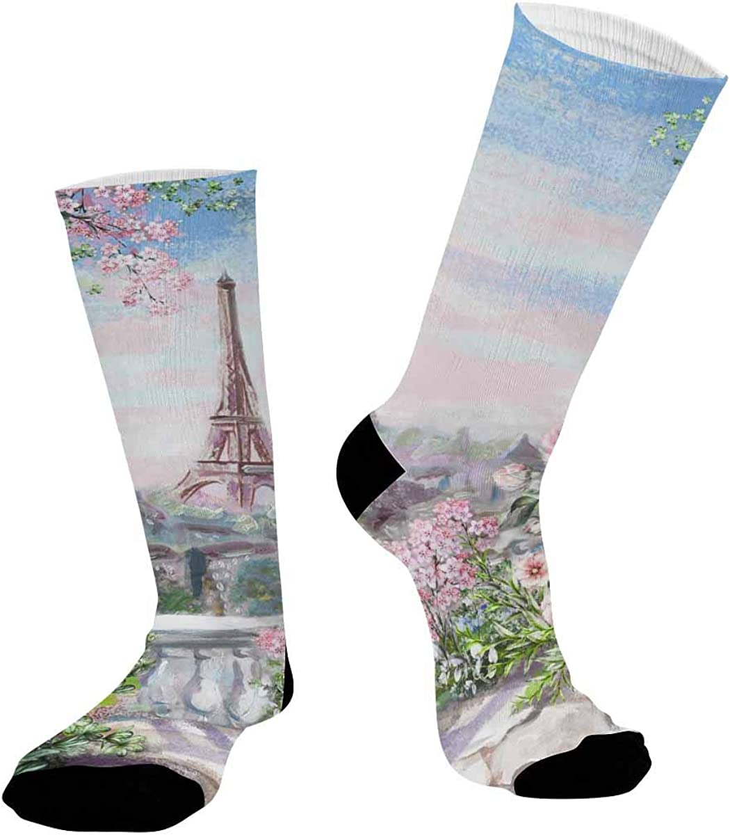 INTERESTPRINT Casual Sublimated Crew Socks Unisex Flower Rose and Eiffel Tower