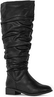 Women's Wide Calf Slouchy Pull On Low Block Heel Knee High Boots