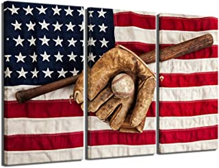 sechars - Sports Canvas Art Wall Decor Vintage Baseball Equipment with USA American Flag Pictures Canvas Print for Bedroom Living Room Dorm Giclee Print Gallery Wrap Ready to Hang,16x32x3pcs