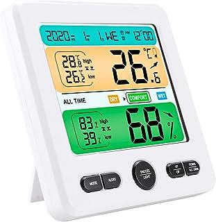 YJYQ Hygrometer inomhustermometer, exakt rumstemperaturmätare fuktighetsmätare med väckarklocka, lätt att läsa, LCD-skärm ...