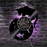 Reloj de Pared de Acuario Reloj de Pared con Registro de Vinilo Reloj de decoración de Gatito Regalo de Gatito Reloj de Pared de Vinilo Retro Lindo Gato Pez