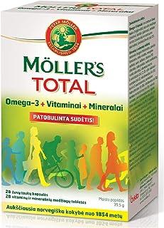 Moller's Total Omega 3 Vitaminas y Minerales 28 28 Cápsulas Noruegas