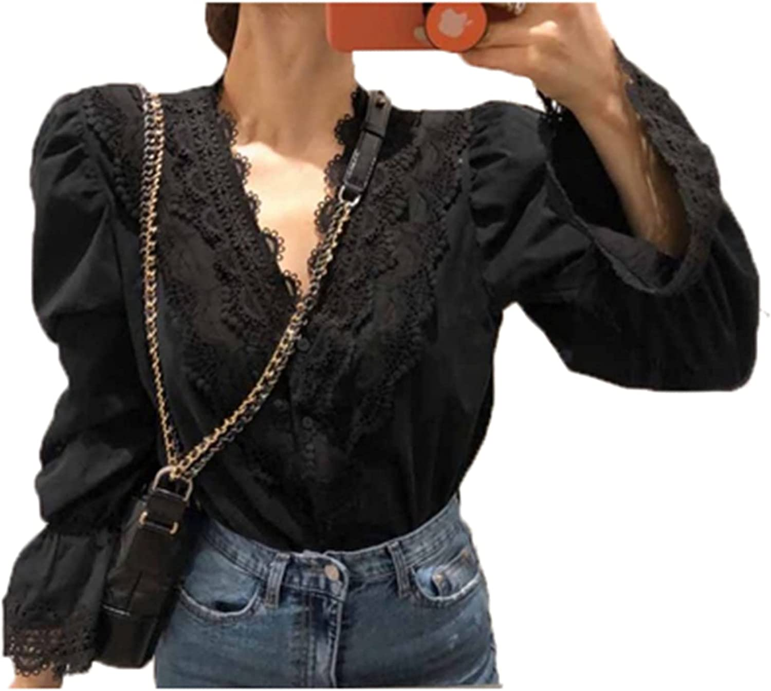 Button Down Free shipping New Shirt Women Work Ladies Some reservation Lace Blouses Casual Classic