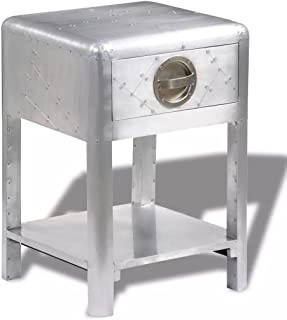 Aviator End Table, Aluminum End Side Table Bedside Nightstand with Storage Drawers Aviator Aircraft Airman Style Living Room Home Office Furniture Silver